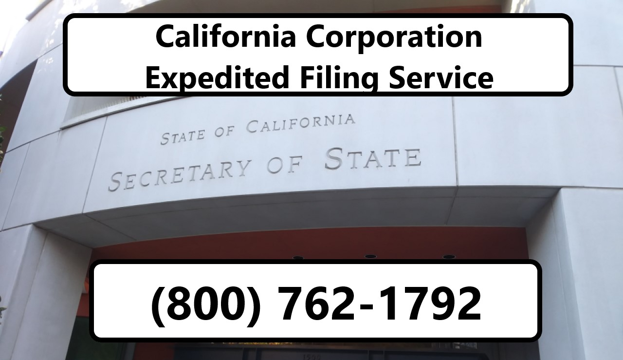Disclaimer: California Corporation Expedited Filing Service